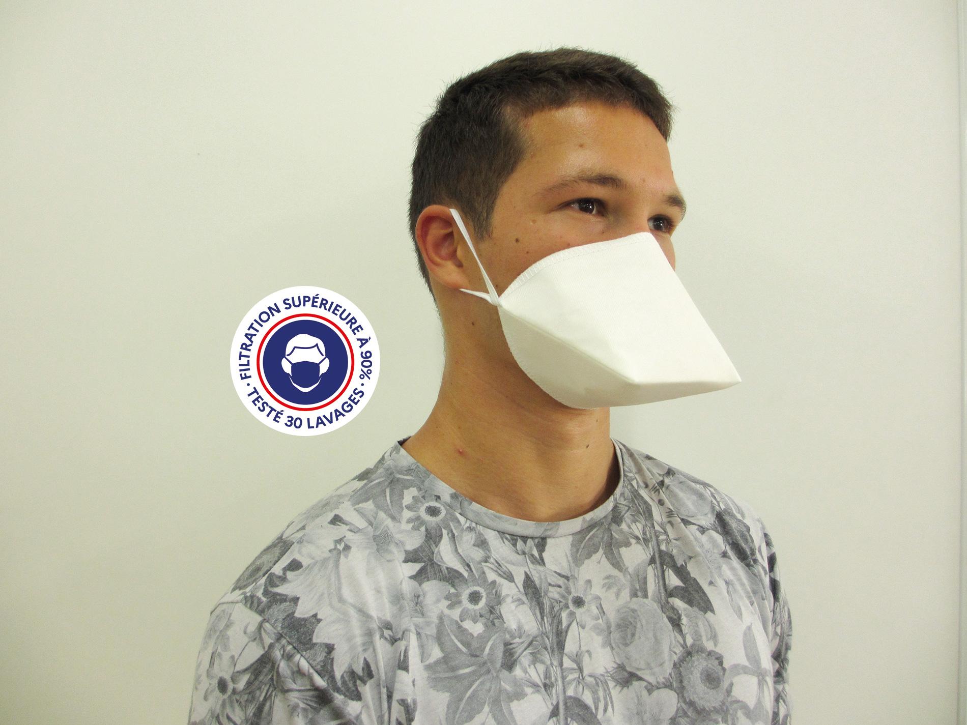 Teximasque 30 lavages - Masque Grand Public Filtration supérieure à 90%