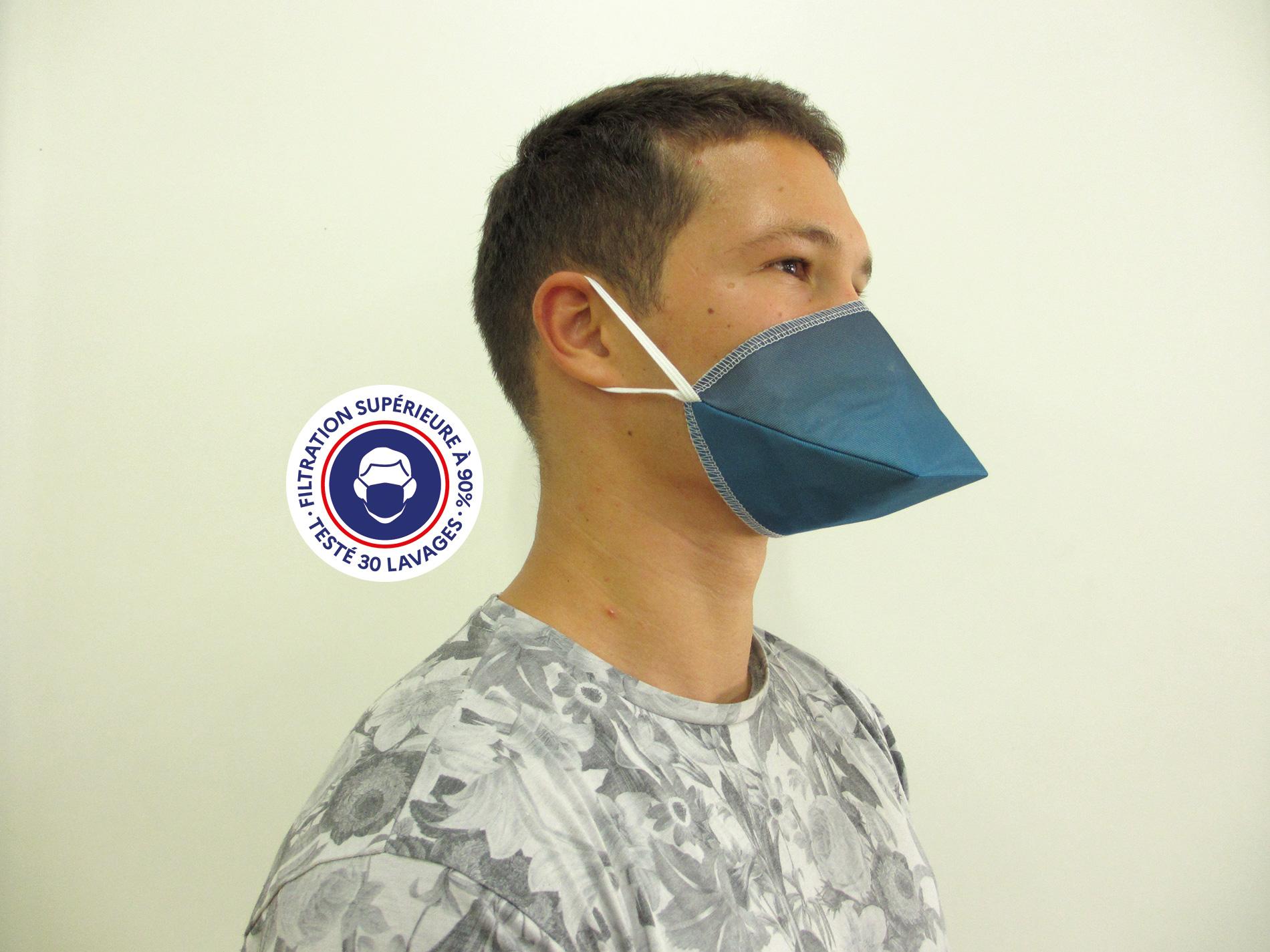 Teximasque 30 lavages Bleu - Masque Grand Public Filtration supérieure à 90%