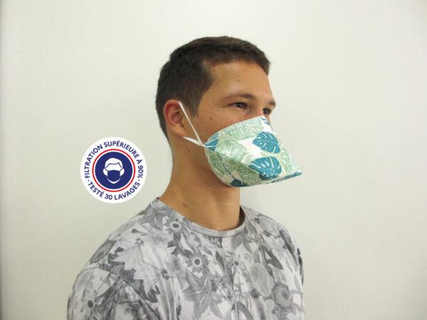 Teximasque 30 lavages Motif feuilles- Masque Grand Public Filtration supérieure à 90%