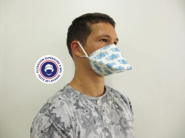 Teximasque 30 lavages Personnalisable- Masque Grand Public Filtration supérieure à 90%