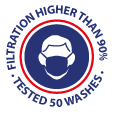 Mask for general public - filtration higher than 90% - tested 50 washes